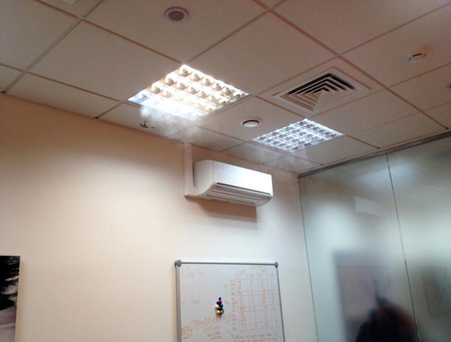Форсуночная система увлажнения воздуха в офисе
