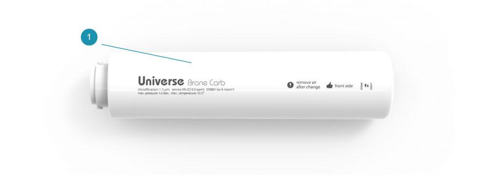 Комплект поставки картриджа для системы Universe предварительной механической и адсорбционной очистки Brane Carb для системы Universe
