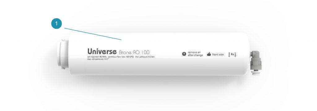 Комплект поставки картриджа обратного осмоса Brane RO 100 для системы Universe