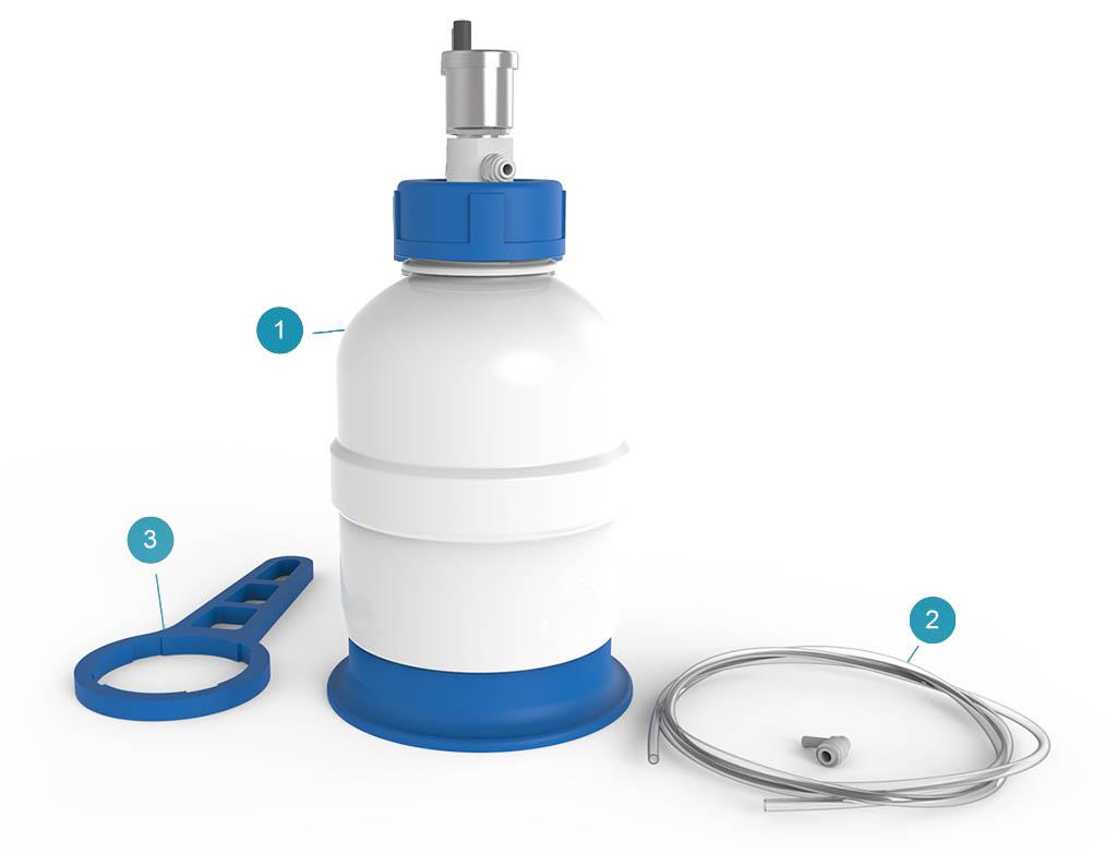 Комплект поставки прозрачного накопительного бака Brane Tank для системы Universe